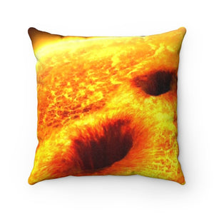 🌞 Faux Suede Square Pillow - Solar SUNSPOTS at full blast - Earth Beware - Yunque Store
