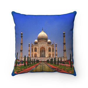 Faux Suede Square Pillow - The awesome Taj Mahal - A moslem mausoleum - Agra, India - Yunque Store