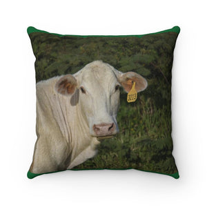 Faux Suede Square Pillow - The cow stares at the photographer - near El Yunque – Puerto Rico. - Yunque Store