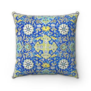 Faux Suede Square Pillow - Tiled background, oriental ornaments from Isfahan Mosque, Iran - Yunque Store