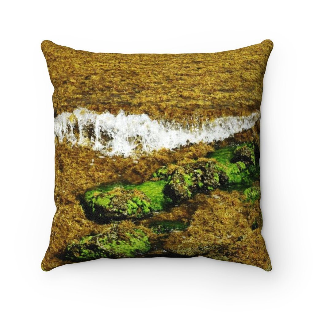 Faux Suede Square Pillow - Unique REMOTE Mona Island algage wave break - Galapagos of the Caribbean – Puerto Rico. - Yunque Store