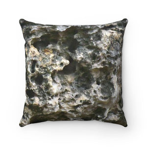 Faux Suede Square Pillow - Unique REMOTE Mona Island - Beach Boulders texture across pillow - Galapagos of the Caribbean – Puerto Rico. - Yunque Store