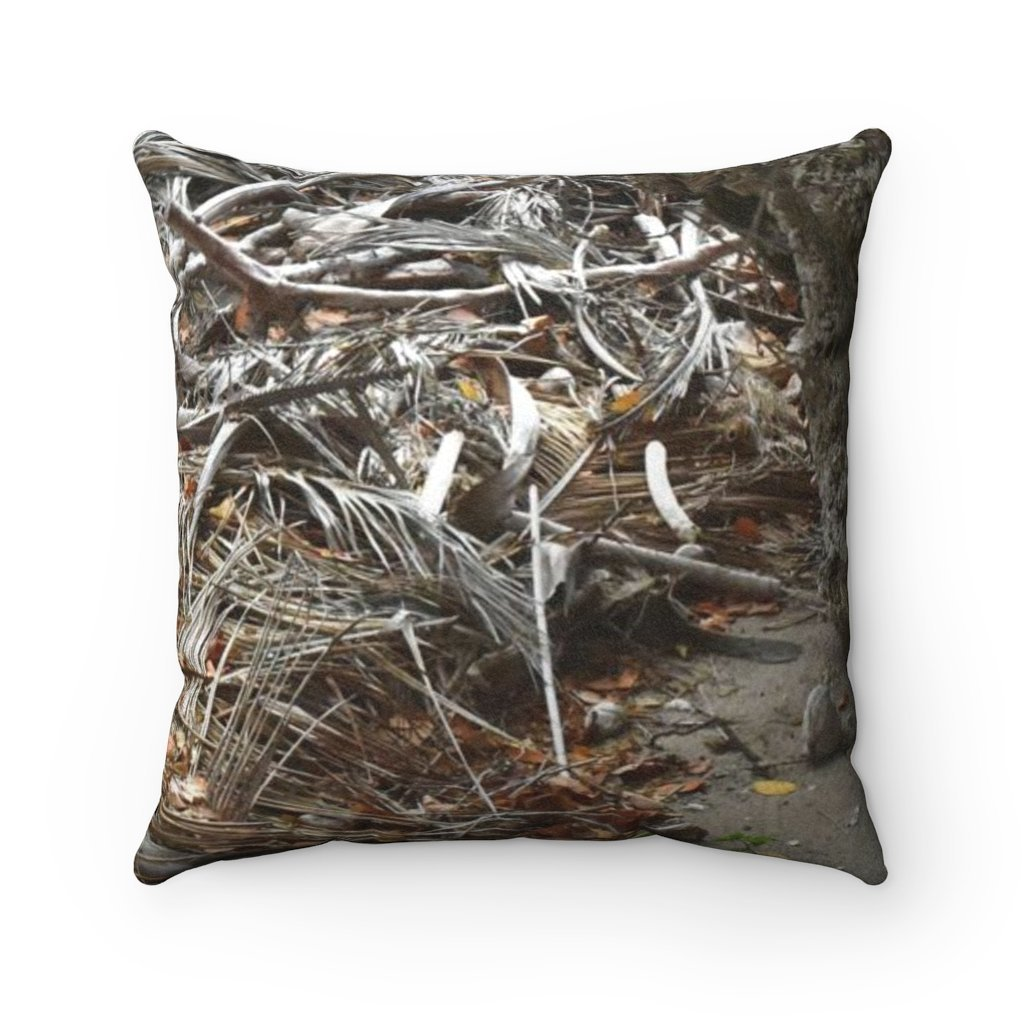 Faux Suede Square Pillow - Unique REMOTE Mona Island - Beach dry coconut leaves - Galapagos of the Caribbean – Puerto Rico. - Yunque Store