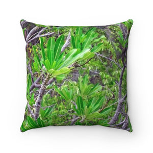 Faux Suede Square Pillow - Unique REMOTE Mona Island - Beach plants across pillow - Galapagos of the Caribbean – Puerto Rico. - Yunque Store