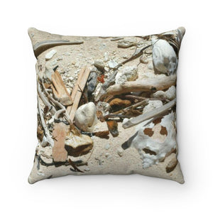 Faux Suede Square Pillow - Unique REMOTE Mona Island - Beach sand stuff - Galapagos of the Caribbean – Puerto Rico. - Yunque Store