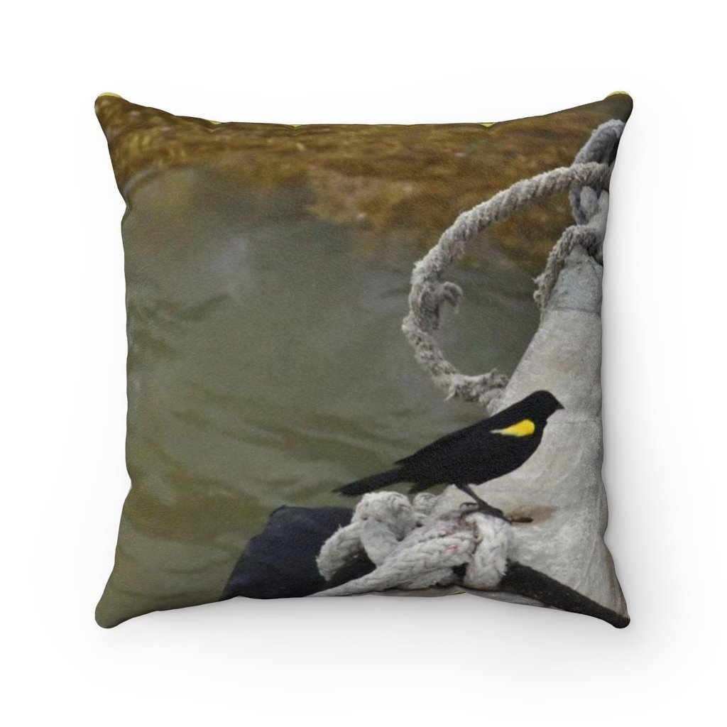 Faux Suede Square Pillow - Unique REMOTE Mona Island - Birds of Mona - The Island has over 100 native birds species -- Galapagos of the Caribbean – Puerto Rico. - Yunque Store