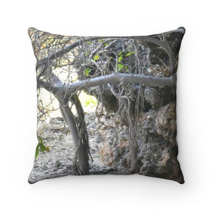 Faux Suede Square Pillow - Unique REMOTE Mona Island - Boulder forest across pillow - Galapagos of the Caribbean – Puerto Rico. - Yunque Store
