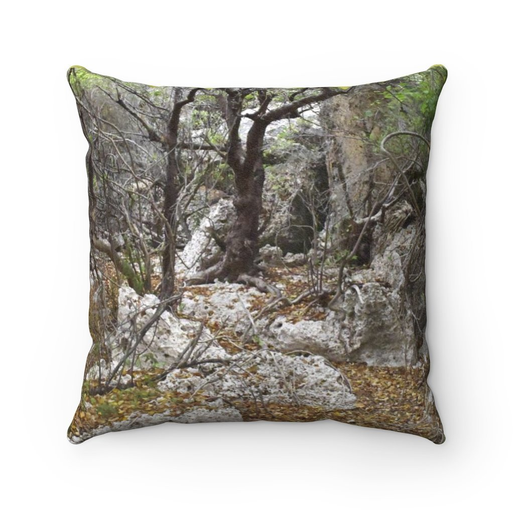 Faux Suede Square Pillow - Unique REMOTE Mona Island - Boulders dry Forest - sunset - Galapagos of the Caribbean – Puerto Rico. - Yunque Store