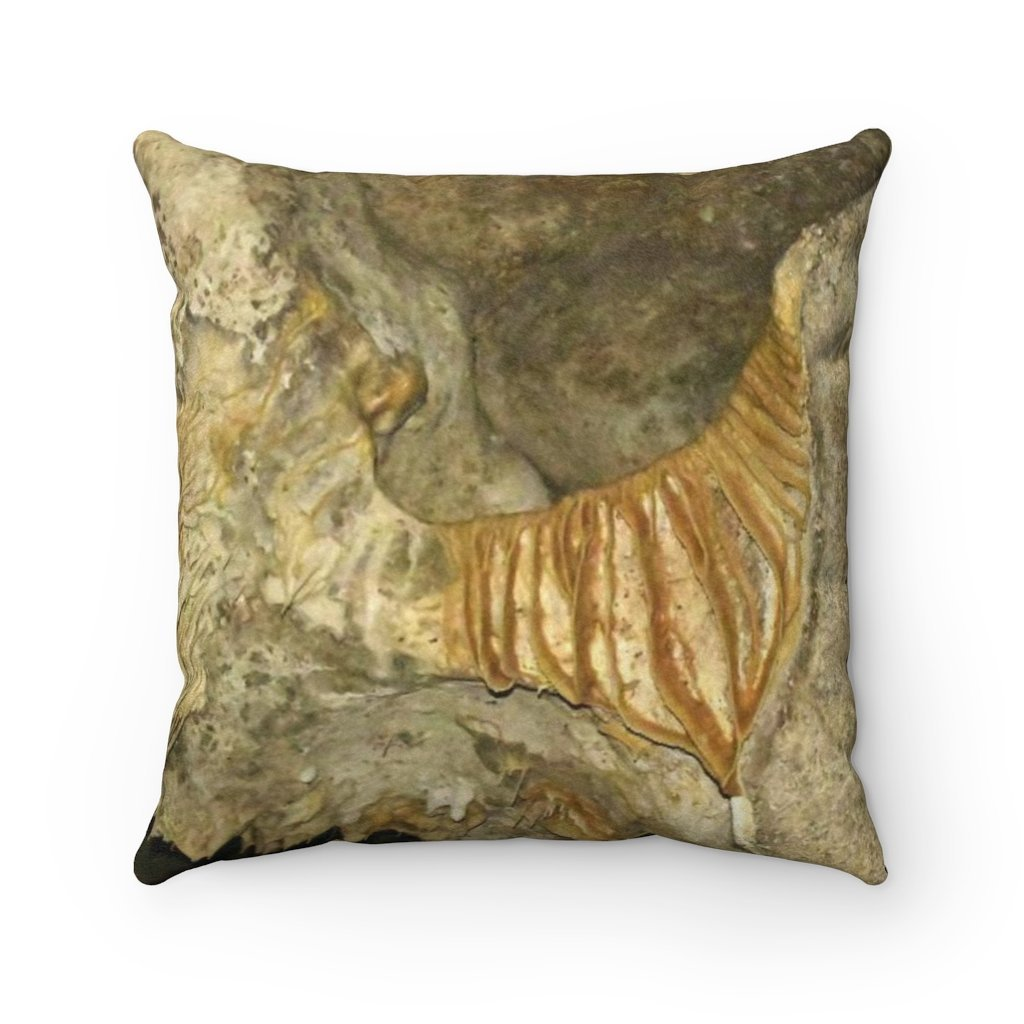 Faux Suede Square Pillow - Unique REMOTE Mona Island Caves Limestone flows - Galapagos of the Caribbean – Puerto Rico. - Yunque Store
