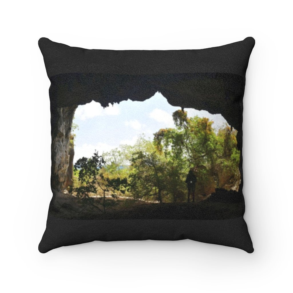 Faux Suede Square Pillow - Unique REMOTE Mona Island Caves with Sierra Club expedition - Galapagos of the Caribbean – Puerto Rico. - Yunque Store