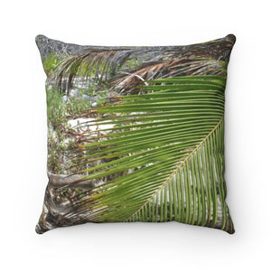 Faux Suede Square Pillow - Unique REMOTE Mona Island - Coconut branch across the pillow - Galapagos of the Caribbean – Puerto Rico. - Yunque Store