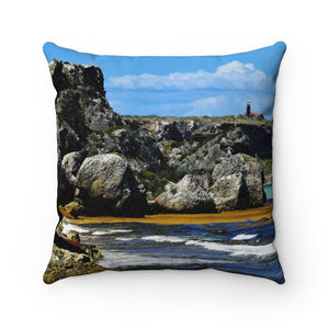 Faux Suede Square Pillow - Unique REMOTE Mona Island - Galapagos of the Caribbean – Puerto Rico. - Yunque Store