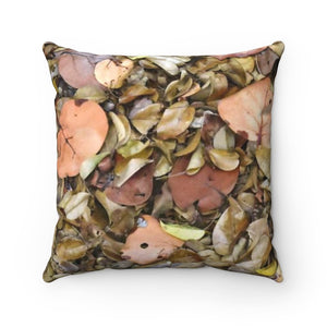 Faux Suede Square Pillow - Unique REMOTE Mona Island - Ground leaves in beach forest across pillow - Galapagos of the Caribbean – Puerto Rico. - Yunque Store