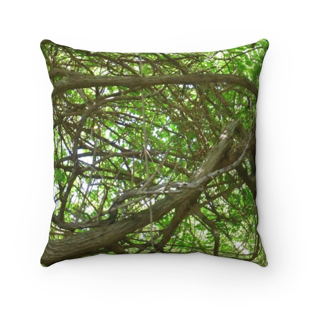 Faux Suede Square Pillow - Unique REMOTE Mona Island - Monas coastal tree - sunset - Galapagos of the Caribbean – Puerto Rico. - Yunque Store