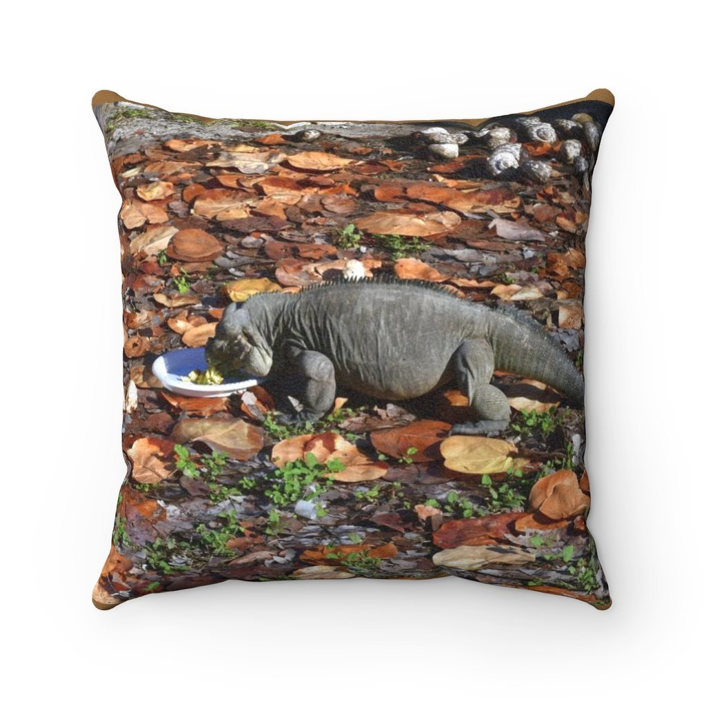 Faux Suede Square Pillow - Unique REMOTE Mona Island - Native iguana eating from plate - Galapagos of the Caribbean – Puerto Rico. - Yunque Store