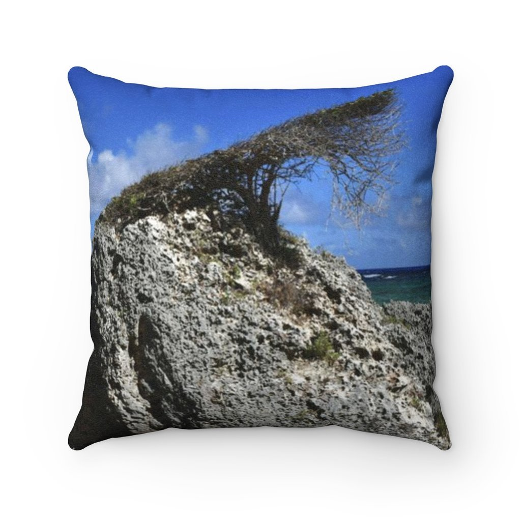 Faux Suede Square Pillow - Unique REMOTE Mona Island - Rare Bonsai like tree shaped by cost wind - Galapagos of the Caribbean – Puerto Rico. - Yunque Store