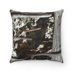 Faux Suede Square Pillow - Unique REMOTE Mona Island - Roots on boulders across pillow - Galapagos of the Caribbean – Puerto Rico. - Yunque Store