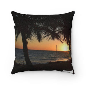 Faux Suede Square Pillow - Unique REMOTE Mona Island - sunset - Galapagos of the Caribbean – Puerto Rico. - Yunque Store
