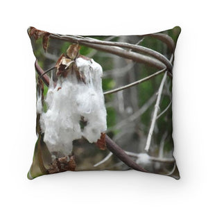 Faux Suede Square Pillow - Unique REMOTE Mona Island - The cotton plant across pillow - Galapagos of the Caribbean – Puerto Rico. - Yunque Store