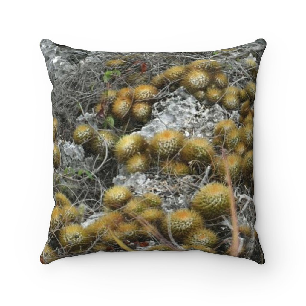 Faux Suede Square Pillow - Unique REMOTE Mona Island - Upper limestone plateu cactus - Galapagos of the Caribbean – Puerto Rico. - Yunque Store