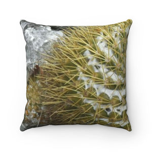 Faux Suede Square Pillow - Unique REMOTE Mona Island - WARNING - Large cactus! - Puerto Rico. - Yunque Store