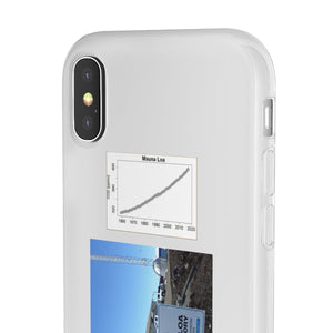 Flexi Cases - CO2 - The Keeling curve cause of Global warming - and the Hawaii Mouna Loa Observatory Phone Case Printify
