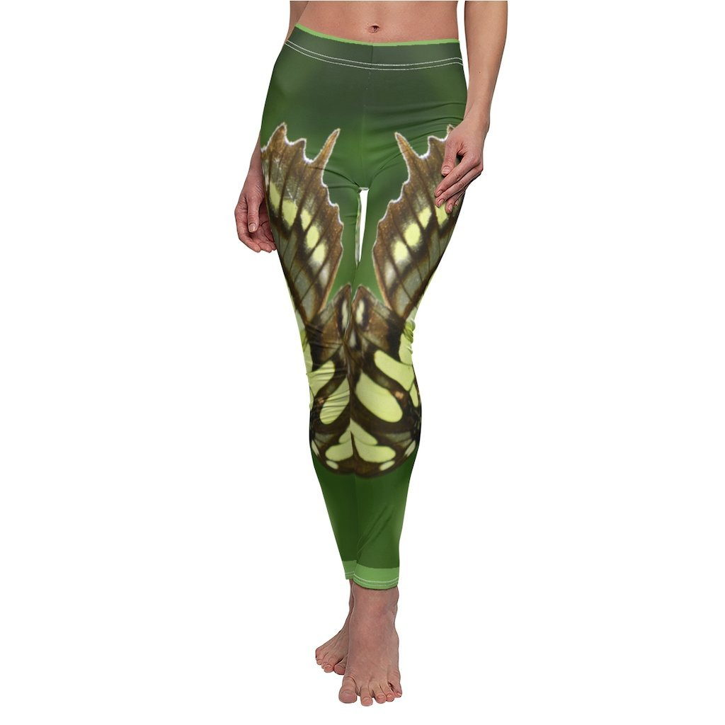 Forest Butterfly - Women's Cut & Sew Casual Leggings - Symmetric images from the El Yunque rainforest Puerto Rico - Yunque Store