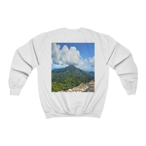 FOREST - Unisex Heavy Blend™ Crewneck Sweatshirt - The East Peak from Mt Britton tower - El Yunque rainforest PR Sweatshirt Printify