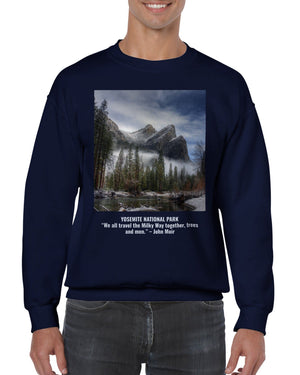 GELATO GLOBAL PRINT - Classic Unisex Crewneck Sweatshirt - Yosemite National Park CA and quotes from John Muir - founder of the Sierra Club and NPS - Yunque Store