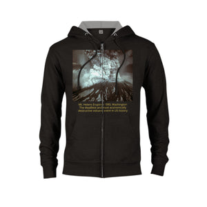 GELATO GLOBAL PRINT - Classic Unisex Zip Hoodie - Mt Helens 1980 WA eruption and back the famous Yellowstone Old Faithful Geyser - Yunque Store