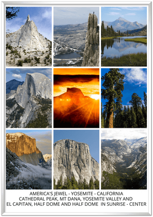 Gelato Global print - Home decor ideas - Premium Semi-Glossy Paper Metal (silver) Framed Poster - Great views and mountains of the Yosemite National park - CALIFORNIA - USA - Yunque Store