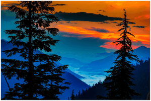 GELATO GLOBAL PRINT - Landscape Aluminum Print - Mountains and valley before sunrise through the trees at Cayuse Pass, Mt. Rainier National Park, WA USA - Yunque Store