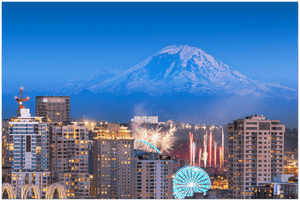 GELATO GLOBAL PRINT - Landscape Aluminum Print - Seattle, Washington, USA downtown skyline with Mt. Rainier and fireworks - Yunque Store