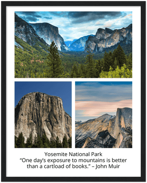 GELATO GLOBAL PRINT - Premium Matte Paper Wooden Framed Poster - Yosemite National Park in CA USA - Yunque Store