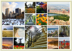 Gelato Global print - Premium Semi-Glossy Paper Metal Framed Poster - Amazing set of US City Parks - NYC Central park, Santa Cruz, San Diego, Acadia Park, SF Golden Gate park - Yunque Store
