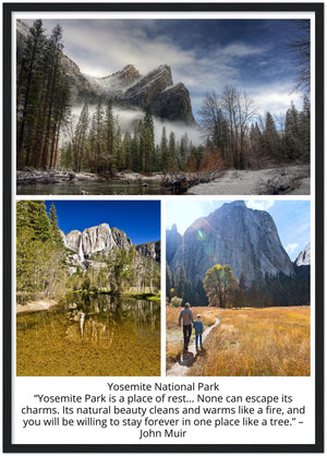 GELATO GLOBAL PRINT - Premium Semi-Glossy Paper Wooden Framed Poster - Yosemite National Park in CA USA - Yunque Store