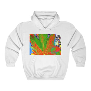 Gildan 18500 - USA MADE TO KEEP WARM 💥 UNISEX Heavy Blend™ Hooded Sweatshirt - Unique images of Yagrumo Tree & leafs from El Yunque rainforest PR - Alien 👽 Front & Human Vision 👩‍🦰 Back - Yunque Store