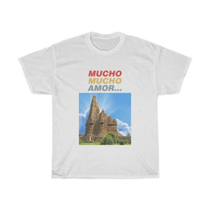 GILDAN 5000 - UNISEX Heavy Cotton Tee - MUCHO 💘 MUCHO AMOR ... (Lots, Lots of Love) - Featuring India's Ancient Tantric Temples Images - USA MADE - Yunque Store