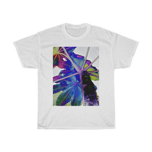 Gildan 5000 - USA MADE 👨‍👩‍👧‍👧 Unisex Heavy Cotton Tee - Unique images of Yagrumo Tree & leafs from El Yunque rainforest PR - Alien 👽 Front & Human Vision 👩‍🦰 Back - Yunque Store