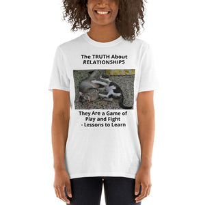 Gildan 64000 - Short-Sleeve UNISEX T-Shirt - Image of Cats playing/fighting - The truth about relationships - Yunque Store