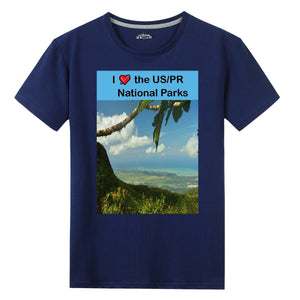Gildan Sale $9 - 100% Cotton - UNISEX Front Print T-shirt - Image of El Yunque PR and text: I 💘 the US/PR National Parks - Yunque Store