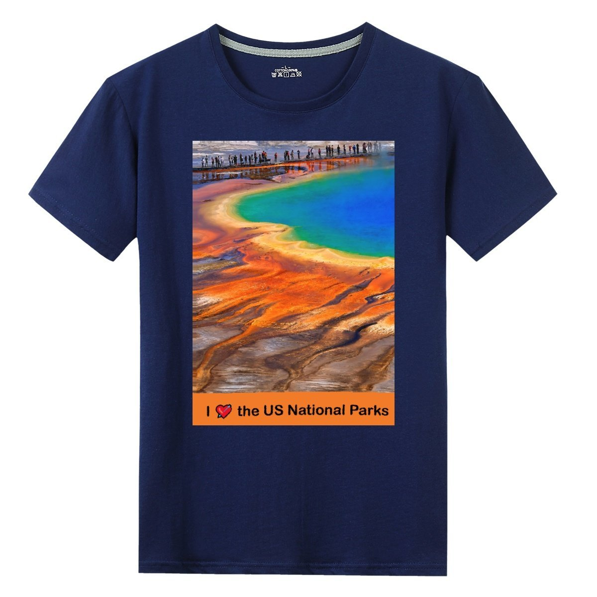 Gildan Sale $9 - 100% Cotton - UNISEX Front Print T-shirt - Image of Yellowstone Thermal Pool and text: I 💘 the US National Parks - Yunque Store