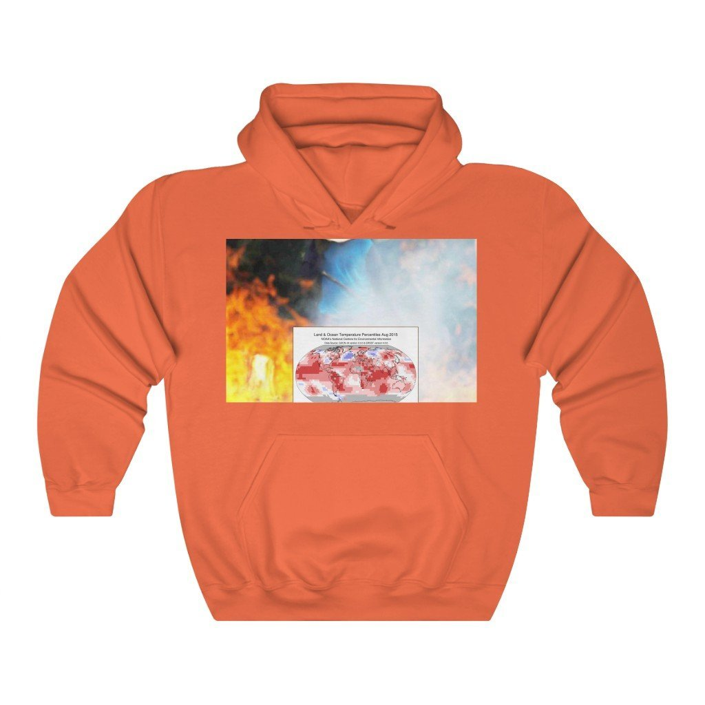 Global Warming - Gildan 18500 - Unisex Heavy Blend™ Hooded Sweatshirt - USA MADE IN 3 DAYS - Keeling CO2 heat chart and farmer in Brazil fihthing fires, back huge Amazon fires intensified by Global Warming - Yunque Store
