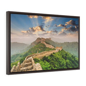 GREAT CHINA COLLECTION: Horizontal Framed Premium Gallery Wrap Canvas - A GLORIOUS Sunset in the Great Wall of China - Jinshanling section. - Yunque Store