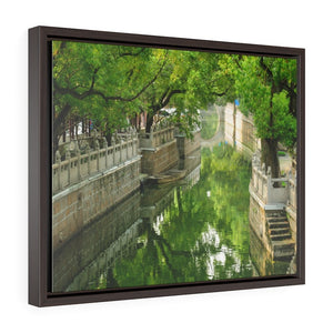 GREAT CHINA COLLECTION: Horizontal Framed Premium Gallery Wrap Canvas - A tree lined water way on Anting Old street, Anting Town Jiading district of Shanghai China - Yunque Store