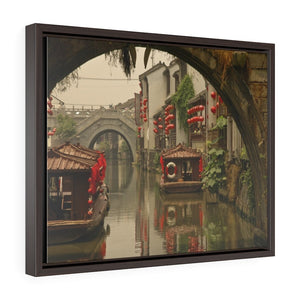 GREAT CHINA COLLECTION: Horizontal Framed Premium Gallery Wrap Canvas - A view under a bridge to another ancient bridge with canal boats decked out with red lanterns in Suzhou, near Shanghai, China - Yunque Store