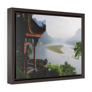 GREAT CHINA COLLECTION: Horizontal Framed Premium Gallery Wrap Canvas - Awesome view under a bridge to another ancient bridge with canal boats decked out with red lanterns in Suzhou, near Shanghai, China - Yunque Store