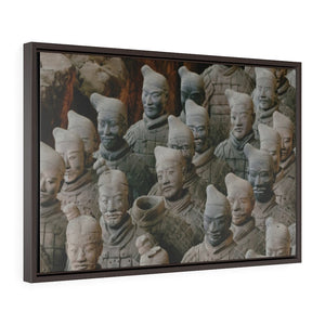 GREAT CHINA COLLECTION: Horizontal Framed Premium Gallery Wrap Canvas - Close-up x2 of famous Terracotta Army of Warriors in Xian, China - Yunque Store