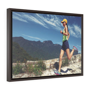 GREAT CHINA COLLECTION: Horizontal Framed Premium Gallery Wrap Canvas - Young fitness woman trail runner on the Great Wall of China - top of mountain - Yunque Store