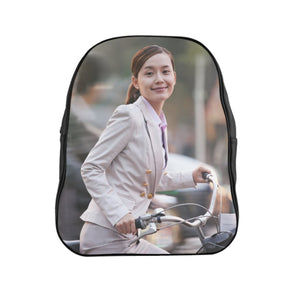 GREAT CHINA COLLECTION: School Backpack - Made in China by Artsadd - Young Business Woman commuting with a Bicycle, Beijing, China - Yunque Store